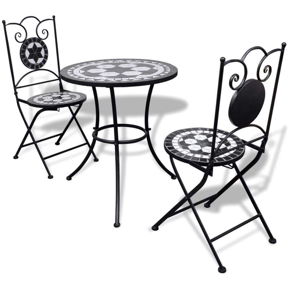 Vidaxl Tavolo Da Bistro 60 Cm Con Mosaico E 2 Sedie Nero Bianco Eprice