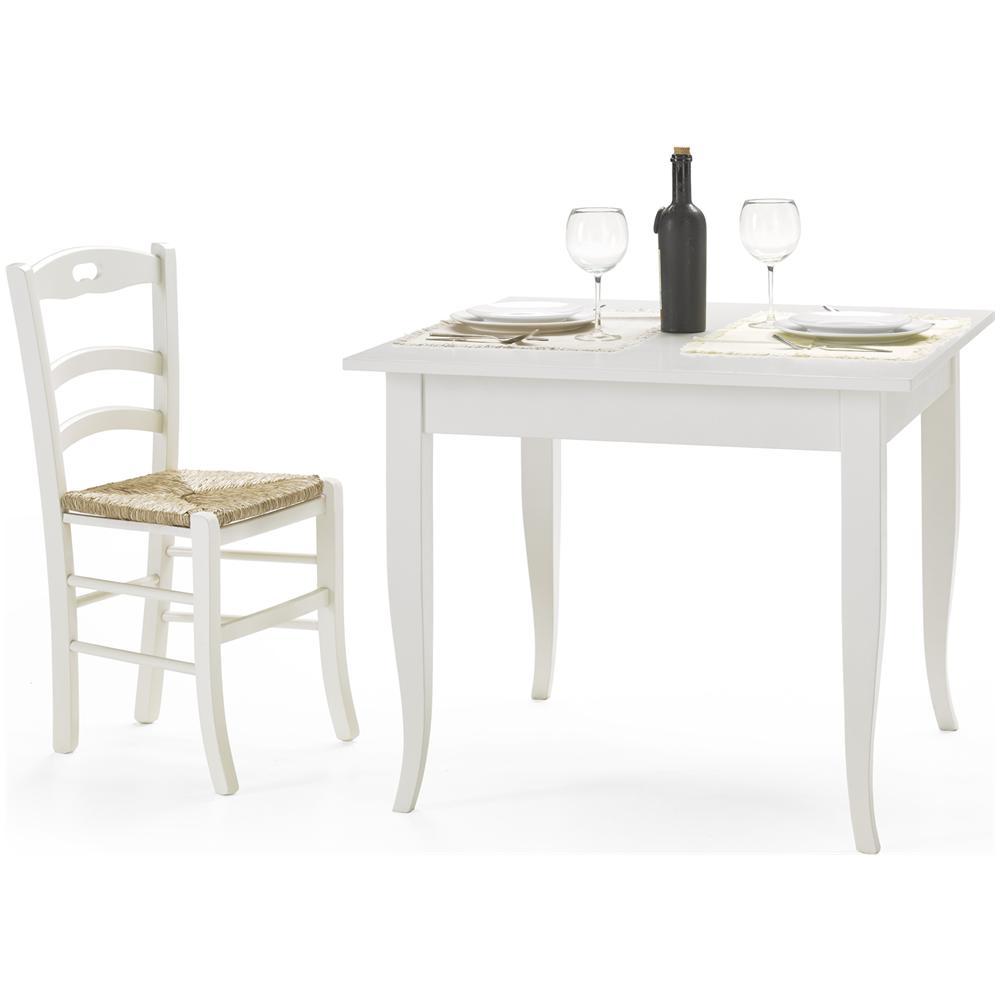 Tavolo Bianco In Legno estense tavolo in legno 90x90 fisso colore bianco