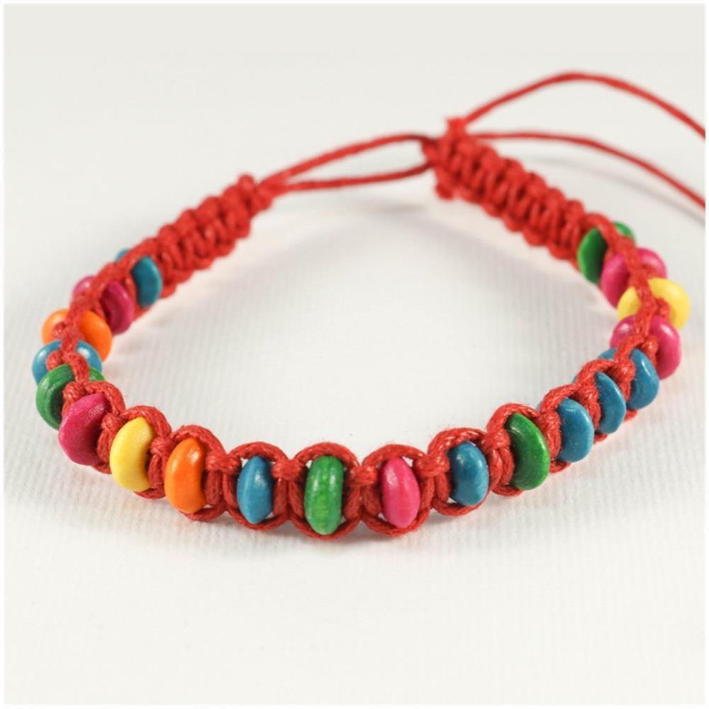 ArtePassione , Braccialetto Intrecciato Rosso Con Perline Di Legno  Colorate, Ideale Per L\u0027amicizia O Portafortuna , ePRICE