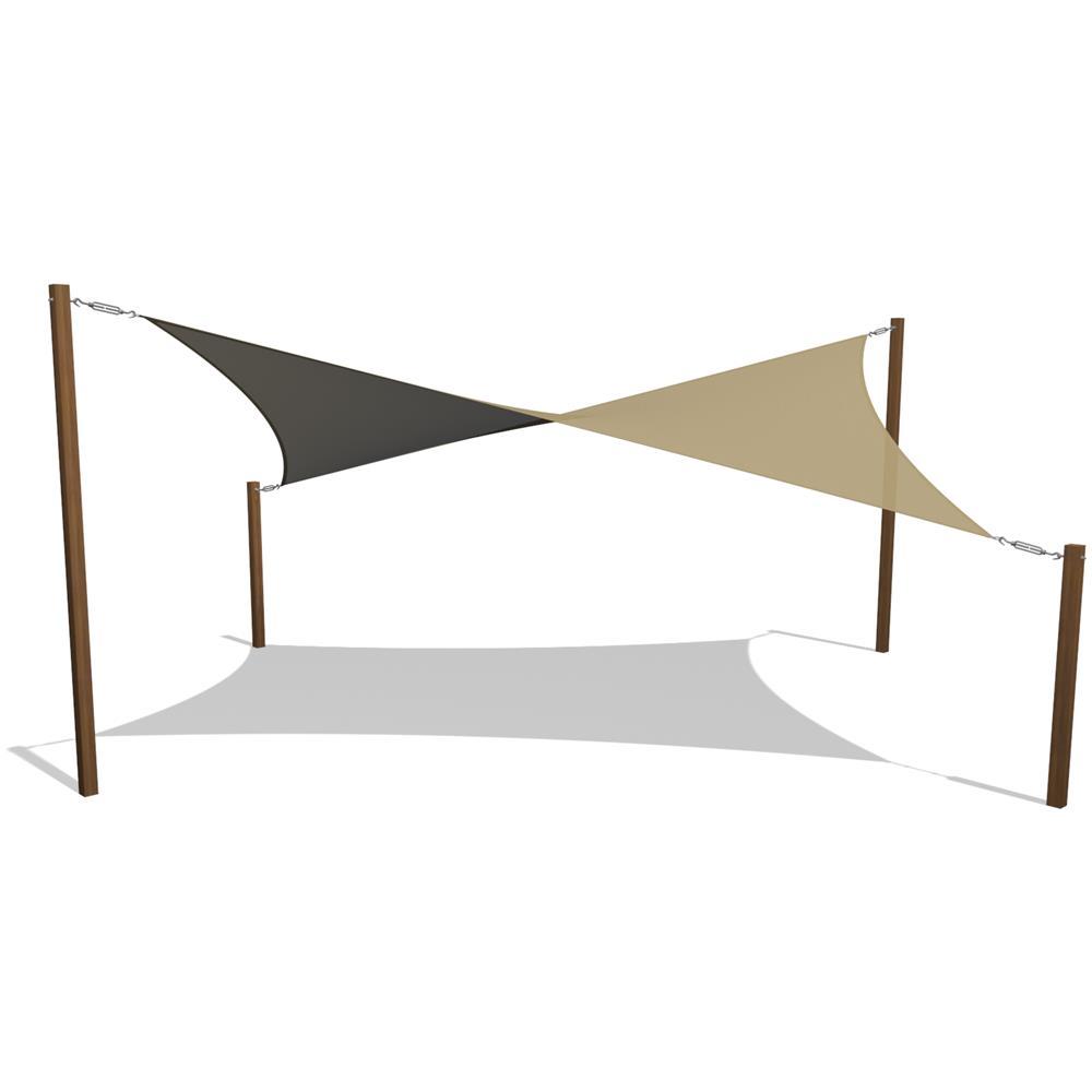 Beige Tenda a Vela Parasole 2x2m Poliestere Tende da Sole con Corda Libera per Giardino Terrazza Campeggio