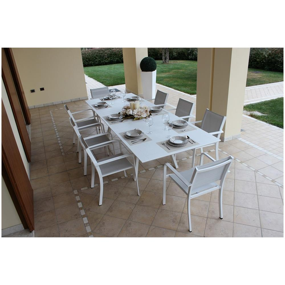 Milanihome Set Tavolo Giardino Allungabile Rettangolare 200 300 X 110 Con 10 Poltrone In Alluminio Bianco Per Esterno Eprice