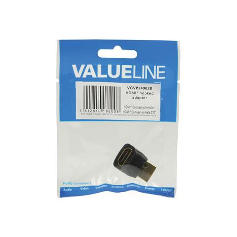 VALUELINE VGVP34902B, HDMI, HDMI, Maschio / femmina, Nero, PVC, Sacchetto di politene