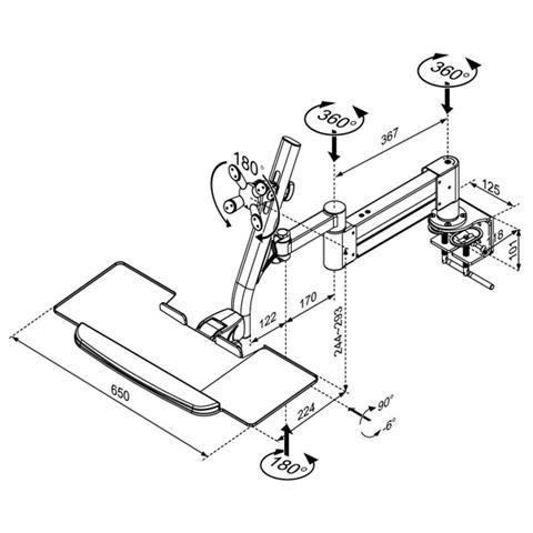 Roline LCD / Keyboard Holder, Desk Clamp, rotatable