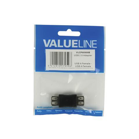 VALUELINE VLCP60900B, USB A, USB A, Femmina / femmina, Nero, Plastica, Blister