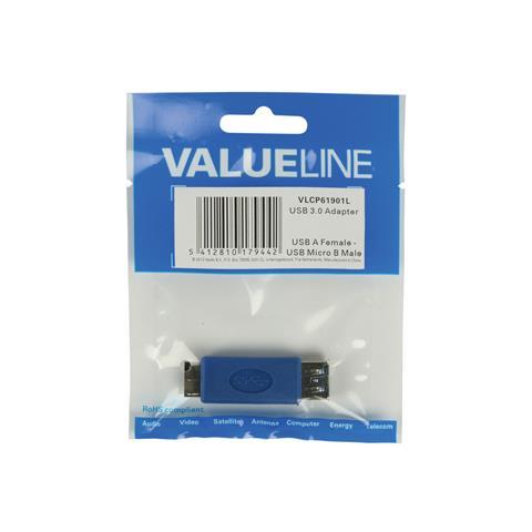 VALUELINE VLCP61901L, Micro USB B, USB A, Maschio / femmina, Blu, Plastica, Blister