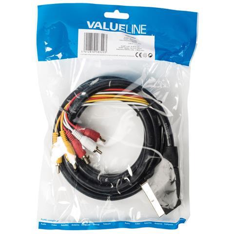VALUELINE SCART / 6x RCA, 2m, SCART (21-pin) , Maschio, Maschio, Oro, Nero, Cloruro di polivinile (PVC)
