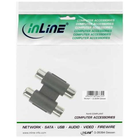 INLINE 99318 2xRCA 2xRCA Nero, Argento cavo di interfaccia e adattatore