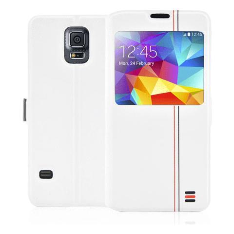 FONEX Tecno Book Custodia a Libro per Galaxy S5 / S5 Neo Bicolore Bianco / Grigio