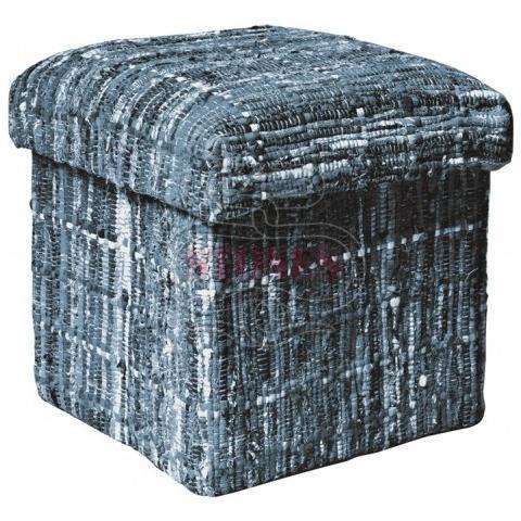 Stones Pouf Contenitore Realizzato In Tessuto Patchwork E Lana Riciclata Multicolor Ca 044 B
