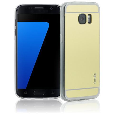 FONEX Vanity Cover in Morbido TPU con Retro a Specchio per Galaxy S7 Edge Colore Trasparente / Oro