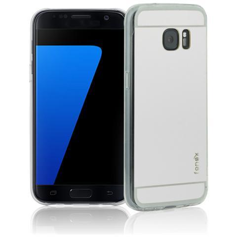 FONEX Vanity Cover in Morbido TPU con Retro a Specchio per Galaxy S7 Colore Trasparente Argento