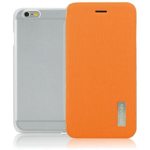 FONEX Crystal Slim Custodia a Libro con Back Trasparente per iPhone 6/6S Colore Arancio