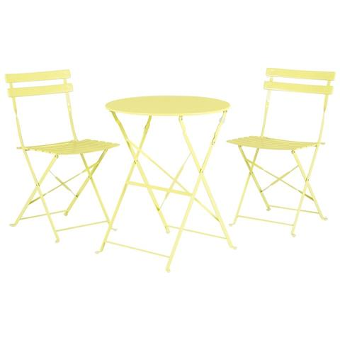 Set Di 2 Sedie E Tavolino Da Caffè In Alluminio Giallo Fiori