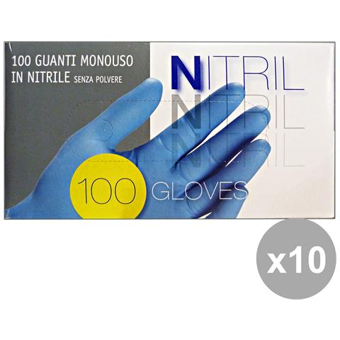 GNP Set 10 Guanti X 100 Nitrile L Giardinaggio