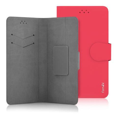 """FONEX Classic Detachable Custodia Universale a Libro per Dispositivi fino a 5"""" Colore Rosso"""