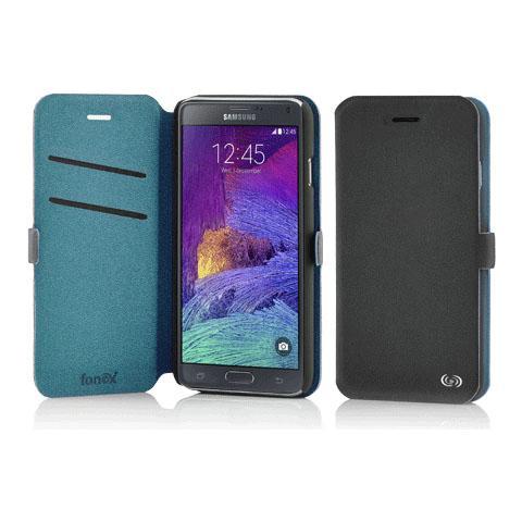 FONEX Elegance Book Custodia a Libro per Galaxy Note 4 Bicolore Grigio Scuro / Blu