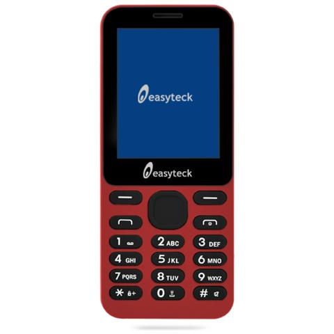 """EASYTECK B100 Dual Sim Display 2.4"""" +Slot MicroSD Bluetooth Radio Torcia Fotocamera colore Rosso"""
