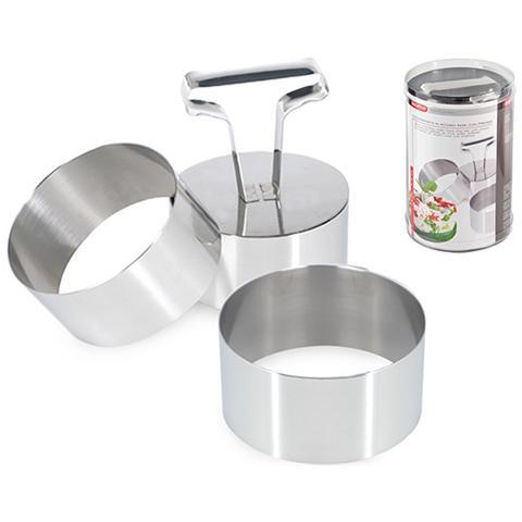Confezione 3 Coppapasta Tondi 8 Cm Acciaio Inox Strumenti Da Cucina