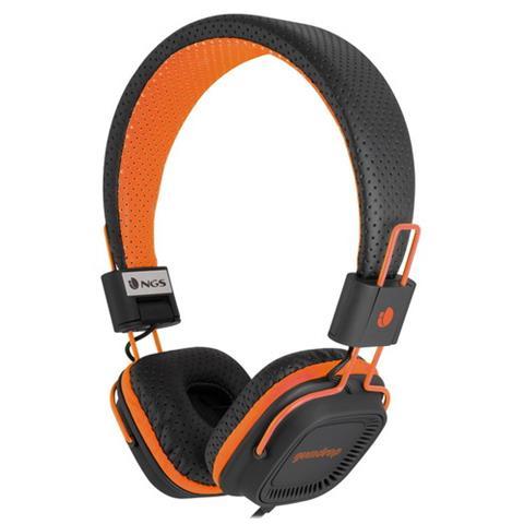 NGS Cuffie Stereo con Microfono per PC e Cellulare Connessione Cavo Nera e Arancione 1.2 m