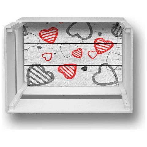 Lupia Mensola Decorativa Da Parete Design Moderno Shelf Box 30x40cm H. 20 Red Hearts