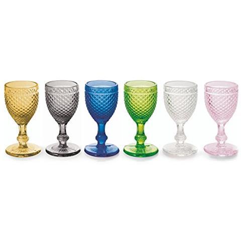 Diamond Set 6 Calici Liquore, Vetro, Multicolore, 10.0x5.0x5.0 Cm