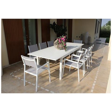 Image of Set Tavolo Giardino Allungabile Rettangolare 150/210 X 90 Con 8 Poltrone In Alluminio Bianco Per Esterno