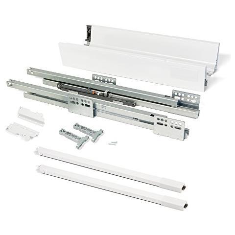 3018512 Kit Per Cassetto In Acciaio Con Chiusura Ammortizzata, Bianco, H141 X 450mm