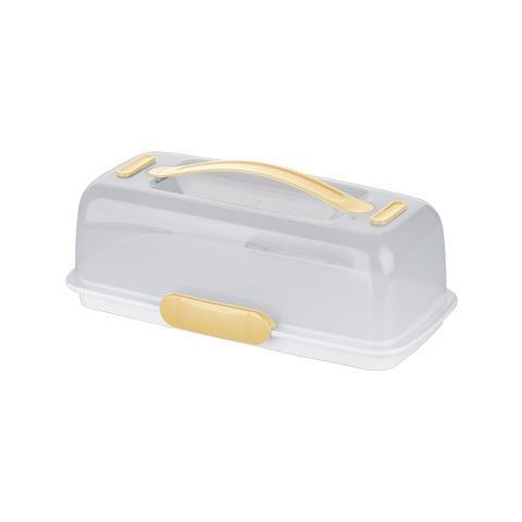 Porta Torta Rettangolare 630844 Translucent, Bianco, Giallo, 36 cm, 18 cm, 12 cm