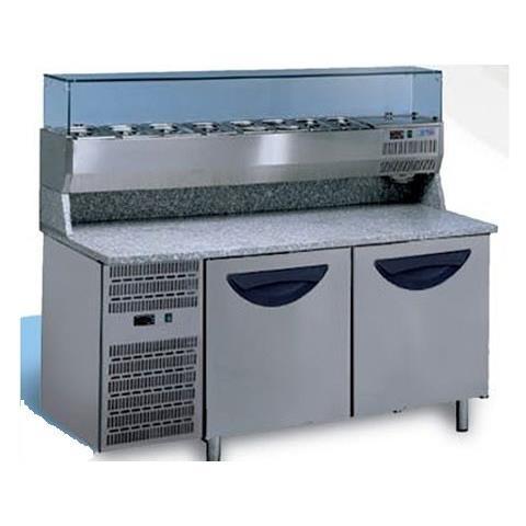 Banco pizza 2 porte refrigerato con piano in granito e vetrina portacondimenti (Gn 1/3)