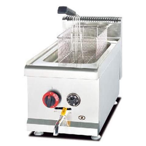 Friggitrice A Gas Professionale Singola Vasca Acciaio Inox Da Banco 14 Litri Lt