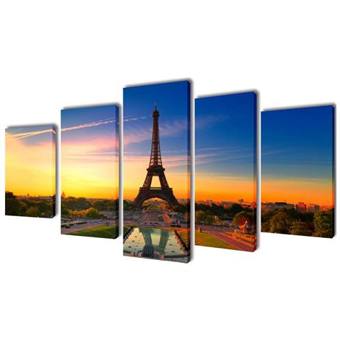 vidaXL 5 Pz Set Stampa Su Tela Da Muro La Torre Eiffel 100 X 50 Cm