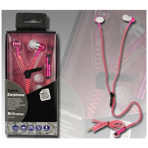 XTREME AUDIO/VIDEO Auricolari Zip Audio eTalk Tahiti Fucsi con Microfono Colore Rosso
