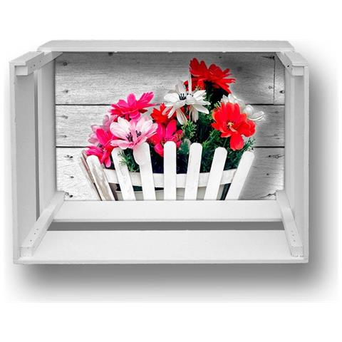 Lupia Mensola Decorativa Da Parete Design Moderno Shelf Box 30x40cm H. 20 Bouquet