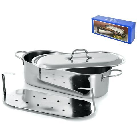 Pescera Inox Con Coperchio Grande Cm50 Pentole Cucina