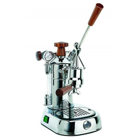 PLH Professional Lusso Macchina da Caffè Espresso Manuale Manici in legno Serbatoio 1.6 Litri Potenza 1000 Watt