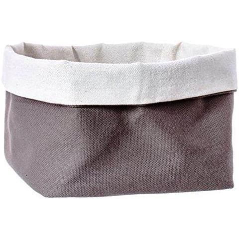 FIMEL Cestino Pane In Tessuto Di Cotone Colore Marrone Misura 11 X 11 X H. 12 Cm