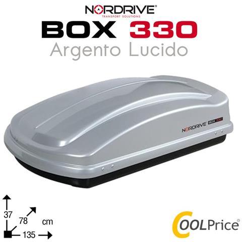 Box Da Tetto Baule Portatutto 330l Argento Lucido Abs