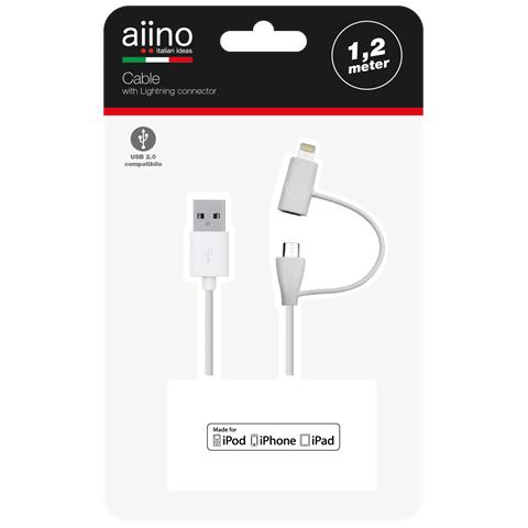AIINO Lightning and micro USB cable 1,2 m MFI - White