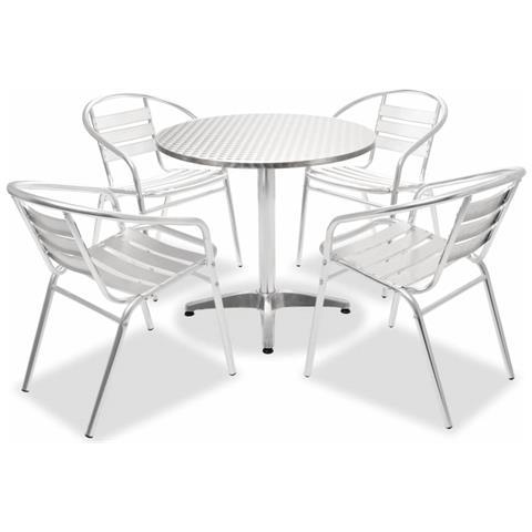 Set Da Pranzo 5 Pz Tavolo Rotondo E Sedie Impilabili Alluminio