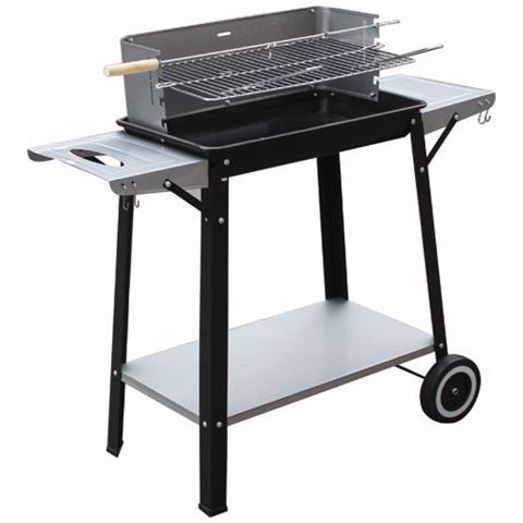 Barbecue a Legna Rettangolare con Ruote 53x32x69