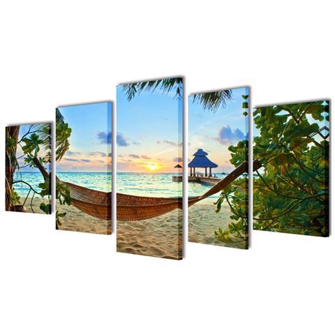 vidaXL 5 Pz Set Stampa Su Tela Da Muro Spiaggia Di Sabbia Con Amaca 200x100cm