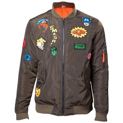 BIOWORLD Marvel - Green Bomber Jacket With Hero Patches (Giacca Uomo Tg. M)