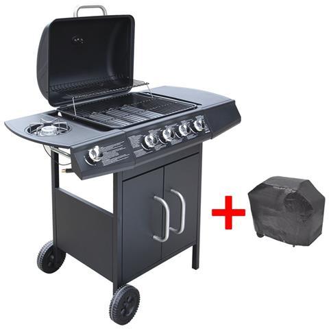 Barbecue a Gas con 4+1 Fuochi con Telo di Copertura Colore Nero