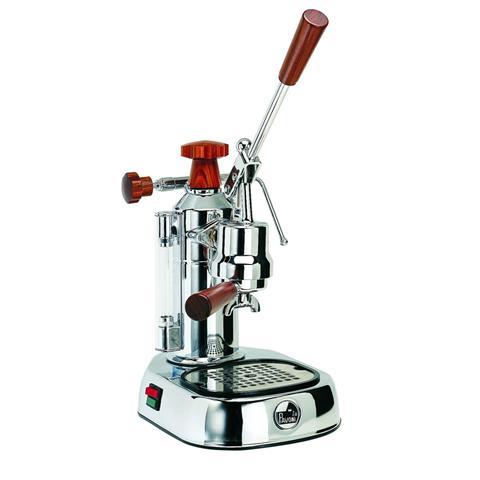 ELH Europiccola Lusso Macchina da Caffè Espresso Manuale con impugnature in legno Serbatoio 0.8 Litri Potenza 1000 Watt Colore Cromata