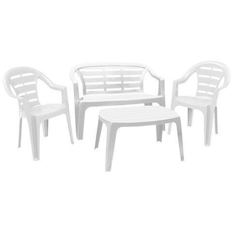 Set da Giardino 1 Panchina 2 Sedie 1 Tavolo Bianco - Modello Madura