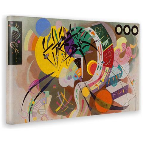 Giallobus Quadro - Stampa Su Tela Canvas Kandinsky - Quadro Astratto Curva  Dominante - Quadri Moderni Di Tela - Vari Formati - 80 X 140 Cm