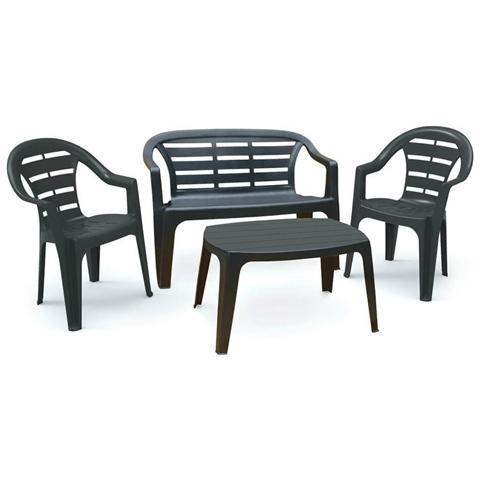 Set da Giardino 1 Panchina 2 Sedie 1 Tavolino Antracite - Modello Madura
