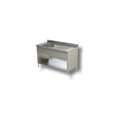 Lavello 130x60x85 Acciaio Inox 304 Su Fianchi Ripiano Cucina Ristorante Rs8293