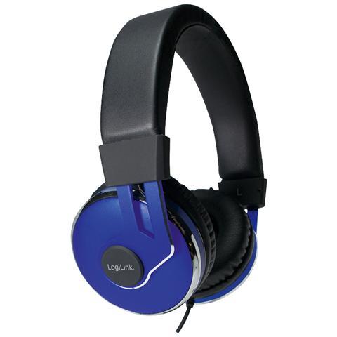 """LOGILINK HS0040, Stereofonico, 3.5 mm (1/8"""") , Omni, Padiglione auricolare, Nero, Blu, Cablato"""