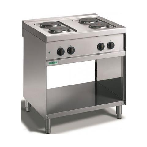 Cucina elettrica 4 piastre tonde su vano a giorno. 80x70x90H.